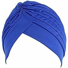 QHGstore Mujer Chemo plisado Pre cabeza atada cubierta hasta Bonnet Sun Turbante Cap azul real