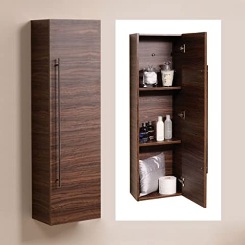 120cm Wall Mounted Bathroom Tall Cabinet Wood Shelving Hung Furniture