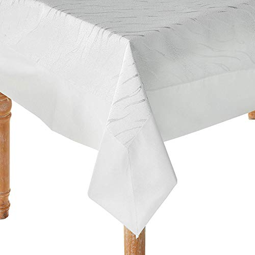 """Violet Linen Orchid Embroidery with Border Design, Polyester Tablecloths, 70"""" X 88"""", White, Silver"""