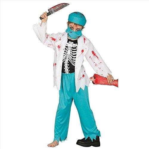 Skelett Arzt Kostüm für Kinder Kinderkostüm Chirurg Kittel Ärztin Arztkostüm Jungen Mädchen Gr. 110-146, (Kind Kostümen Chirurgen)