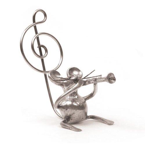 Souris Clarinette Miniature - Porte-Photo - Etain 95,5% - Fabriqué en France - Objet déco - Cadeau musique