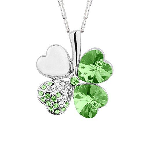 Mianova Damen Kette Halskette Kleeblatt Anhänger mit Swarovski Elements Strass Kristall und Herzen Steinen Vergoldet Silber Grün
