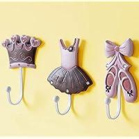 DHZLL Colorful set of three creative hooks/coat hook/dance shoe Princess/Crown/decorative wall hooks