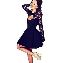 Vestido de fiesta, ✽Internet✽ Mujeres Floral de manga larga de encaje vestido de fiesta Backless