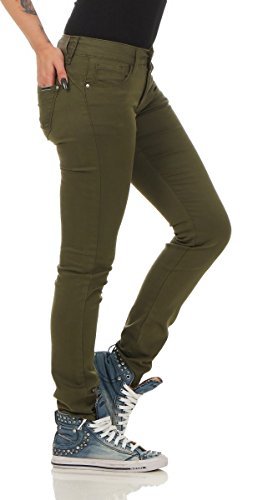10800 Fashion4Young Damen Jeans Röhrenjeans Hose Damenjeans Skinny Stretch-Denim Khaki