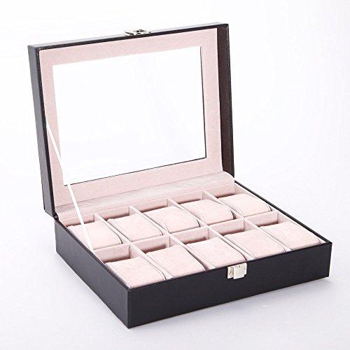 Versand aus Deutschland! Aufbewahrungsbox Uhrenbox Uhrenkoffer Uhrenkasten für 10 Uhren Uhrenschatulle Schmuckkasten Schmuckkoffer Schaukasten