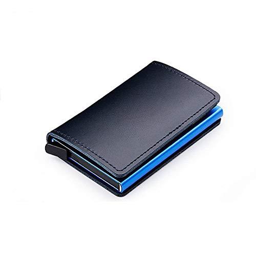 Cartera Anti antirrobo en Aluminio y Cuero auténtico - RFID Bloqueo - Anti RFID - (Azul)