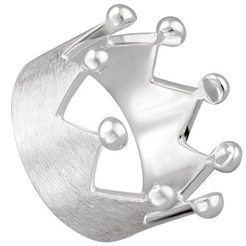 Vinani Ring Krone gebürstet mit glänzenden Spitzen Sterling Silber 925 Größe 64 (20.4) RKR64