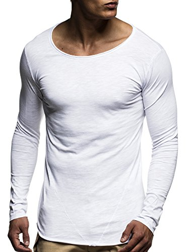 LEIF NELSON Herren Basic Longsleeve Pullover Hoodie Sweatshirt Rundhals oversize Sweater Langarm-Shirt LN6302 S-XXL; Gr_¤e XL, Weiss (Shirt Sweatshirt Xl Herren)