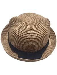 HX fashion Berretti Unisex Cappello di Paglia da Uomo con Orecchie  Cappellino Chic Fiocco Berretto Estivo Cappello da Spiaggia per Vacanza al… 5fe6c57b495a