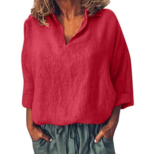 AIFGR Damen Langärmliges Hemd Einfarbiges Langarmshirt mit V-Ausschnitt elegant Sweatshirt Pullover Bluse Oberteile Oversize Tops(rot,XXL) (Monster High T-shirts Für Erwachsene)