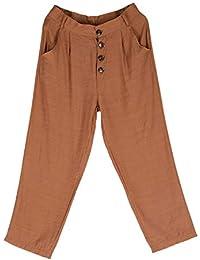 TOOGOO Pantalones De Confort con Botón De Color Sólido De Cintura Alta para Mujer  Pantalones De Bolsillo Pantalones Lápiz Caqui S… 9e52c8e1b45b
