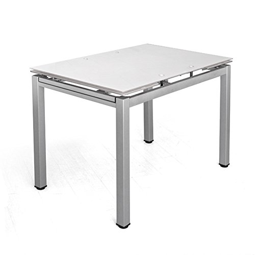 Cribel Queen Tavolo, Vetro/Metallo Satinato, Bianco, 110x70x75 cm