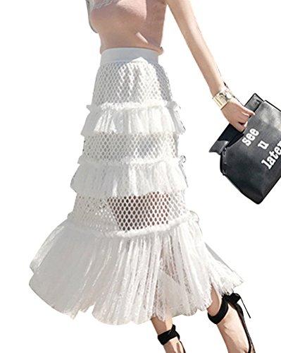 Donna Primavera Ed Estate Casual Slim Fit Pizzo Elegante Swing A Line Lunghe Gonna Elastico Vita Bianco