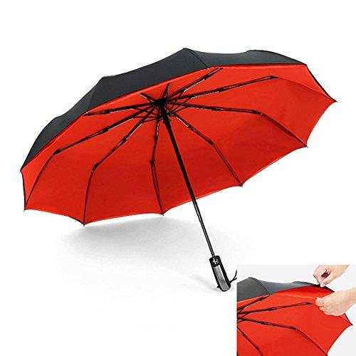 BEARCOLO Regenschirm, Winddicht, wasserdicht, kompakt, Faltbar, vollautomatisch, Doppelter Überdachung, für Reisen und täglichen Gebrauch, rot, Normal -