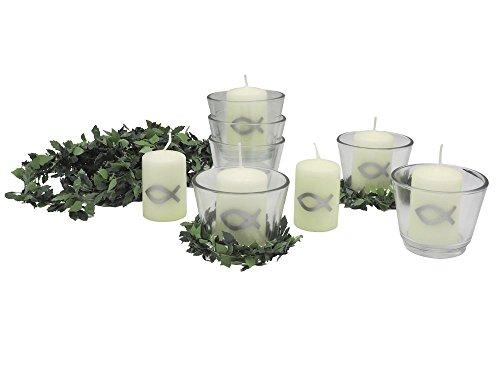 SET: 6x Votivglas 6x Kerzen Fisch Silber mit Kerzenring Kommunion Konfirmation Tischdeko