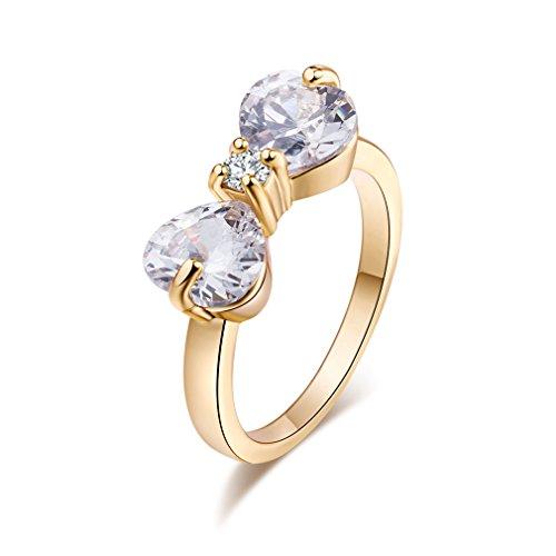 Yazilind 18k Gold überzogenes Fliege Zirkonia-Band-Ring für Frauen & Mädchen (Größe 47)