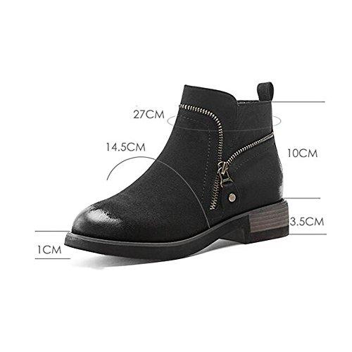 4eadec68a5bcf Haizhen Cheville Bottes Femmes Chaussures Automne   Hiver   Casual Souliers,  Noir   Vert Armée ...