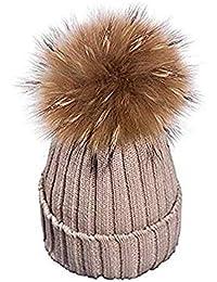 6769eb08785872 EXQULEG Warm Mütze, Echtfellbommel Pudelmütze,Winter-Mütze Bommelmütze  Pelzbommel Waschbär ...