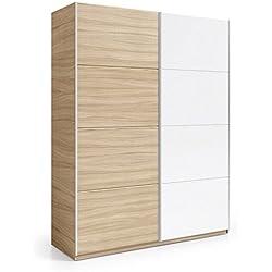 Armario 2 puertas correderas, color Nature y Blanco Brillo, medidas: 180x200x63cm de fondo