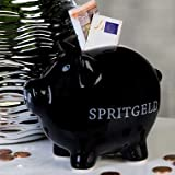 Sparschwein Spritgeld aus Keramik · schwarz Höhe 12,5 cm · Breite 14 cm