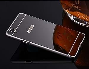 Micomy Aluminum Metal Bumper Detachable + Mirror Hard Back Case for Oppo F1 Plus -Black