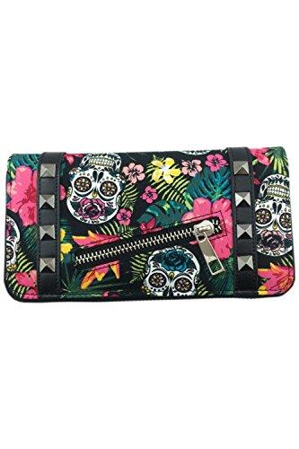Banned - Damen Geldbörse Portemonnaie - Hibiscus Skull (Multicolor) -