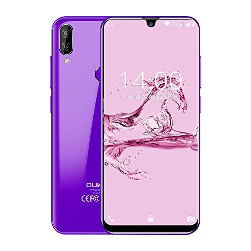 """OUKITEL C16 Smartphone, 5.71"""" 3G Teléfono Móvil, Android 9.0 Quad Core, 2GB+16GB, Cámara 8MP+2MP+5MP, Dual SIM, Sensor de Huella Dactilar, Reconocimiento Facial, Morado"""