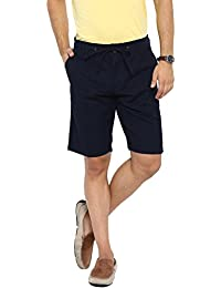 Showoff Men's Navy Blue Solid Chino Shorts