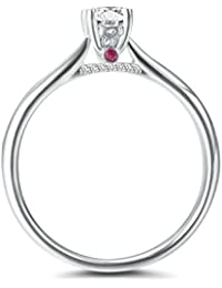 bfd7826e003c Anyeda Mujer Anillo para Amante 18K Gold con Siete Diamante Lado Cómodo para  La Boda