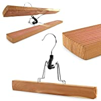 Hangerworld Pack of 10 Natural Cedar Wood Clamp Clothes Hangers- 27cm - For Trousers, Skirts and Other Garments