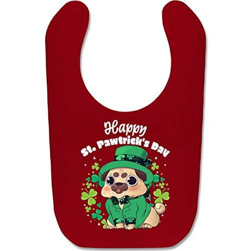 Anlässe Baby - Happy St. Pawtrick's Day - Unisize - Rot - BZ12 - Baby Lätzchen Baumwolle