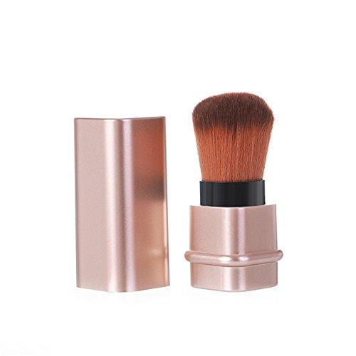 Bonniestore rétractable Blush Brosse de Maquillage, portable Poudre Fond de Teint Kabuki Brosse poussière Remover Cosmétique Brosse de Maquillage Outil Kit de voyage pour crème ou liquide Cosmétique