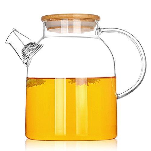 TAMUME 1500ML Glas-Teekanne mit Bambus Deckel und Edelstahl-Filter-Spule Glas Wasser-Krug Ideal für Obst-Tee-Container und blühende Teekanne