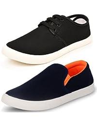 JABRA Men's Black Casual Shoes Blue Sneakers (Combo 2)