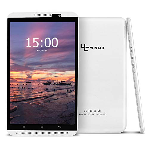YUNTAB H8 LTE 3G/4G Tablet-PC, Android 7.0,Quad-Core Prozessor, 8-Zoll-IPS-Display, 2 GB RAM+16 GB ROM, Dual-SIM-Slot, Dual-Kamera 2MP+5MP, GPS, WI-FI, Bluetooth (Weiß)