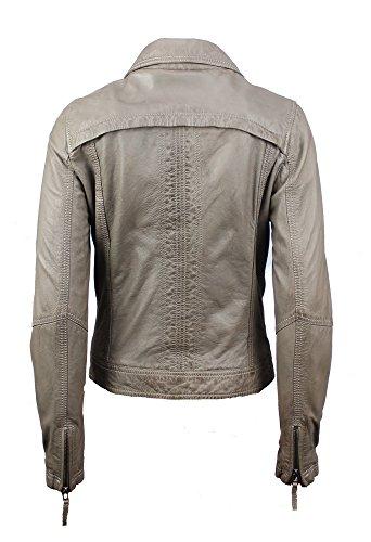Oakwood Damen Lederjacke Bikerjacke Gamma Grau Echtleder Tailliert Umlegekragen Gr. S – XL (S) - 2