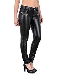 by-tex Pantalon Femme Jean Femmes Slim Pantalon en Cuir pour Femmes Cuir  Simili Pantalon 8e0a7ce54631