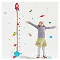 DIY Outer Space Planet Pilot Rocket Growth Chart Home Decor Height Measure Wall Stickers Kids Boy Room Baby Nursery muralW