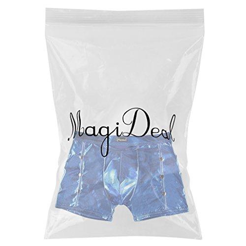 MagiDeal Herren Sexy Unterwäsche Metallic Boxershorts Slips Unterhose Shorts Blau