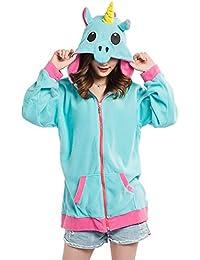 Damen Pyjama Tier Hoodies mit Kapuzen Mantel Jacket Cosplay Kigurumi Plüsch  Anime Casual Outwear d2f29677de