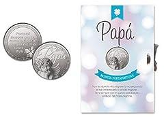 Idea Regalo - M.K. Kit 2 Pezzi Biglietto Auguri Festa del papà + Moneta Portafortuna Dedica Caro Papa' - Porta Fortuna Angelo