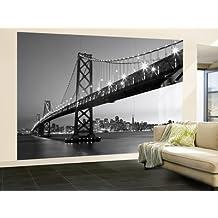 Walplus R6-FSO0-UCA7 - Mural de pared, 366 x 254 cm, diseño San Francisco Skyline, color gris