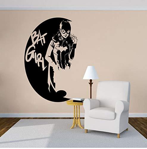 zhangsh Cartoon Design Wandtattoo Bat Weibliche Superheld Vinyl Wandaufkleber Home Grill Room Home Decor Bat Weibliche Logo Wandkunst Poster Ay1405 27X42 cm