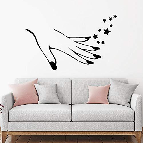 guijiumai Mädchen Hand Maniküre Nägel Schönheitssalon Wandaufkleber Vinyl Aufkleber Sterne Moderne Schlafzimmer Aufkleber Tapete Haus Dekoration schwarz 69x42 cm