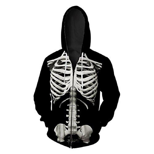 - Skelett Hoodie Mit Reißverschluss