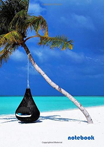 Notebook: a4 cute lined journal | maldives palm tree hammock beach sand coast