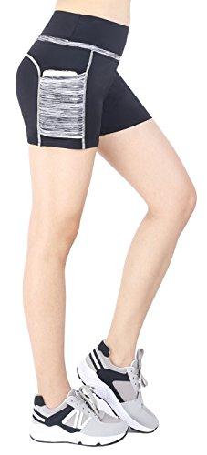 Munvot Tailored Geschenke Tummy Control Yoga Pants Sport Leggings Hohe Taille Fitnesshose Blickdichte Leggings Sporthose Strech Sweathose Schwarz Grau (Kurze Hose) XL