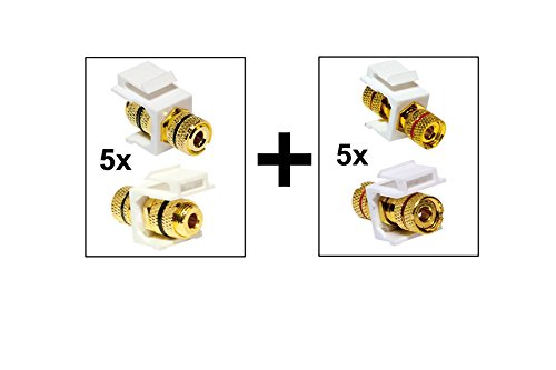Faconet® Set mit 2X Keystone Jack Modul Audiokabel Lautsprecherkabel Polklemme > Gewindebuchse (1x Markierung Rot, 1x Markierung Schwarz) für Audio- Lautsprecher Verkabelung (5 Set)