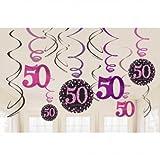 Dekoration zum 50.Geburtstag Swirl-Set 12 Stück Folienspiralen zum Aufhängen pink rosa glitter